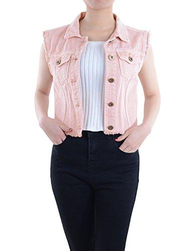 Anna-Kaci Womens Distressed Denim Button Up Sleeveless Crop Vest, Pink, X-Large (Cropped Denim Vest)