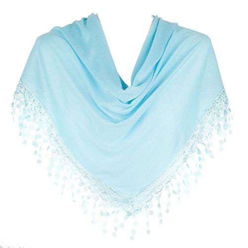 Stylish Triangle Bobbin Lace Fringed Ladies Womens Scarf Shawl Wrap -