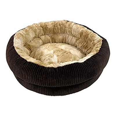 Pet Craft Supply Round Cat Bed - Cute and Comfortable Self Warming Plush Calming Cat Bed for Indoor Cats by R2P Group, Inc. (BP)