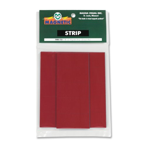 - Magna Visual Magnetic Write-On/Wipe-Off Pre-Cut Strips, 2 x .875 Inches, Red, 25 per Pack (PMR-723)