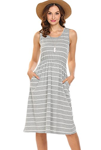 Hount Women's Summer Sleeveless Striped Empire Waist Loose Midi Casual Dress with Pockets (Grey, Large)