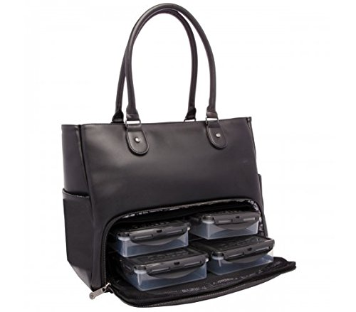 6 Pack Fitness Renee Leather Tote with Insulated Meal Management System, Black (25405) by 6 Pack Fitness (Image #4)