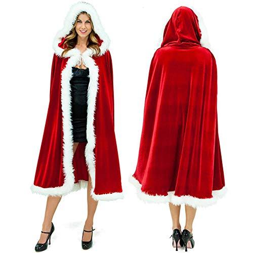 Women Christmas Cloak Deluxe Velvet Mrs Santa Claus Robe Hooded Cloak, Cappa Cape Coat Long Xmas Cos-Play Costume for Girl, Women, Kids (Red Adult) ()