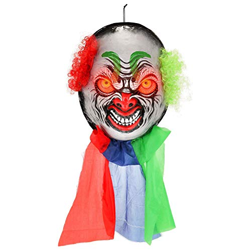 "Halloween Haunters Hanging Over-Sized 20"" Scary Circus Clown Face with Flashing Red LED Eyes Prop Decoration - Huge Spooky Zombie Ghoul Face - Battery Operated"