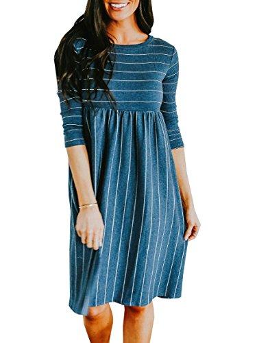 Youxiua Womens Striped Flowy Dresses Casual 3/4 Sleeve Swing Midi Dress with Pockets