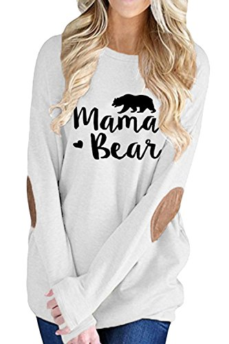 (ALBIZIA Women's Tunic Round Neck Mama Bear ElbowPatches T Shirt Top M White)