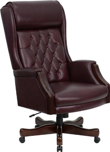 Flash Furniture High Back Traditional Tufted Burgundy Leather Executive Swivel Chair with Arms - Swivel Burgundy Task Chair