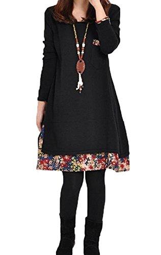 Minetom Mujer Moda Vestido De Punto Manga Larga Cuello Redondo Suelto Casual Suéter Vestir Negro