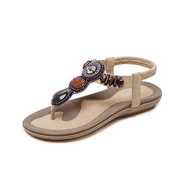 768970739312 MAKEGSI Summer Women Beading Bohemian Casual Beach Flat T-Strap Sandals  Extra Size US 11.5 - Bohemian Fashion Corner