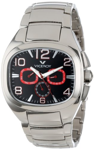Viceroy Men's 47709-75 Genesis Rectangular Stainless Steel Dual Time Day Date Watch