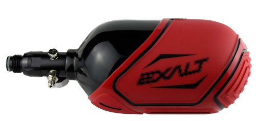 Exalt Carbon Fiber Tank Cover-Fits 68ci, 70ci, 72ci Paintball Tank-Red w/Black by Exalt