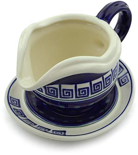 Polish Pottery 21 oz Gravy Boat with Saucer (Greek Key Theme) + Certificate of Authenticity