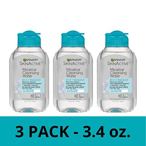 Garnier SkinActive Micellar Cleansing Water, For Waterproof Makeup, 3.4 Ounce (Pack of 3)
