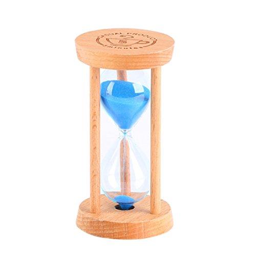 Wooden Sand Timer - Optimal Shop 5 Minutes Wooden Frame Sandglass Sand Glass Hourglass for Home Kitchen Timer Clock Decor Christmas Birthday Gift (Blue Sand)