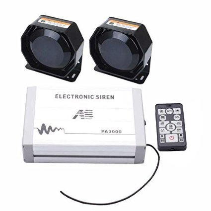 AS 2X100W Federal Siren Kit PA3000E-SPK0022 4-Piece Pack 20 Tones 12V with Siren Box Speaker Wireless Remote Microphone Fit for Police Ambulance Fire Traffic Vehicles