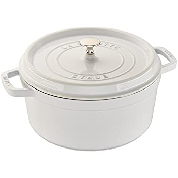 Staub 1102802 Cast Iron Round Cocotte, 6-1/4-Quart, White