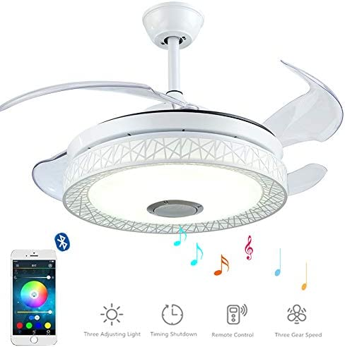 MoreChange 42 inch Bluetooth Ceiling Fans with Lights and Remote Control, 3 in 1 Retractable Chandelier Fan Lighting with Speaker and 7 Colorful Dimmable for Living Dining Room 42in-White Nest