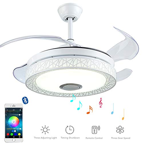 RainierLight Crystal Ceiling Fan Lamp LED Light for Bedroom Living Room Dinning Room with 5 Reversible Metal Blades Remote Control 48 Inch Quiet Decoration 3 Speed