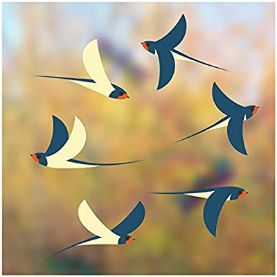 Flying Swallows Window Clings - Set of 6 Decorative Illustrated Glass Clings - Helping Prevent Bird Strikes on Windows