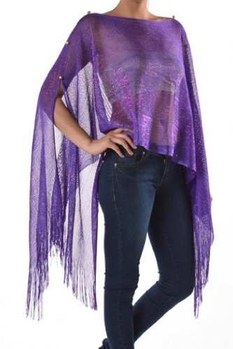 Womens Juniors Fashion Metallic Poncho product image