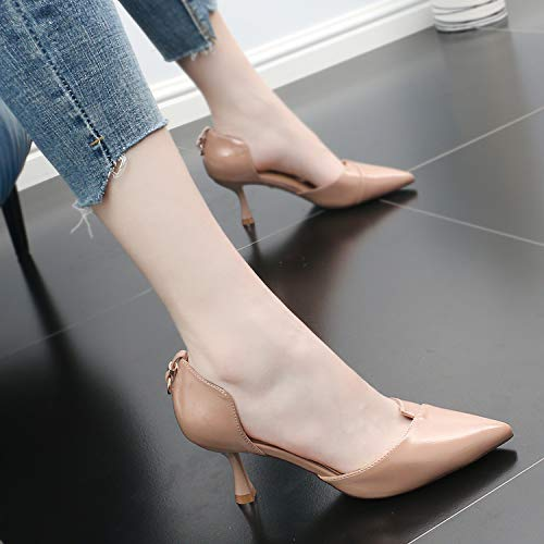 Fine Heels Medium High Heel Sandals 7Cm Fashion GTVERNH Pink Comfort Shoes Women'S Leather Tiptoes Lacquer Heels shoes Fashion Simple women's Hollow Summer AYxxqnw4TF