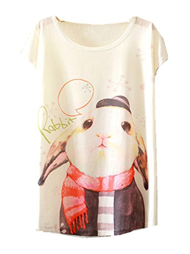Shirt Girls Casual Women Printed Blouse YICHUN Leisure 2 Fashion Rabbit Wear Trendy Cami Thin T Tops Tees Shirt Tunic va66Eq7n