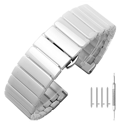 (22mm White Ceramic Watch Band Quick Release Replacement Strap for Gear s3 Bands Smart Watch Strap Stainless Steel Watch Bracelets Butterfly Clasp)