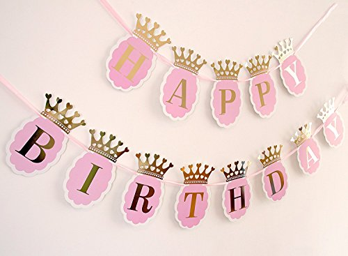 Soccerene Happy Birthday Banner for Girls. Pink Scallops, Gold Foil Crown & Letters, Fast Amazon Logistics and 100% Refund Service -
