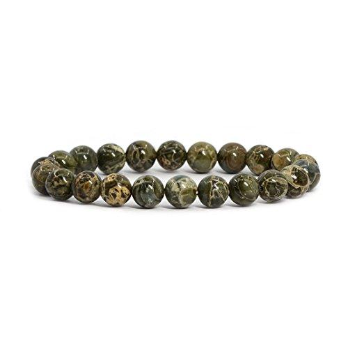 (Natural Camouflage Jasper Gemstone 8mm Round Beads Stretch Bracelet 7
