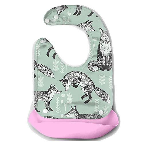 Waterproof Baby Super Bib Feeding Roll-up Bibs Fox Leaves Animal Silicone Bib For -
