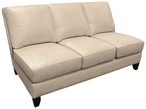 Omnia Leather Benjamin Armless 3 Cushion Sofa in Leather, with Nail Head, Softstations White Winter
