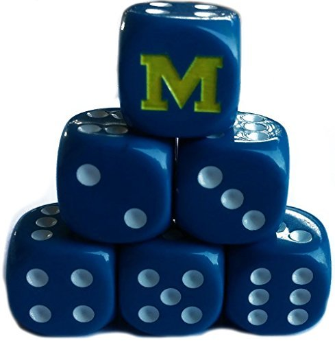 Custom & Unique {Standard Medium 16mm} 6 Ct Pack Set of 6 Sided [D6] Square Cube Shape Playing & Game Dice w/ Rounded Corner Edges w/ Bold Letter M on Number 1 One Design [Blue, White & Yellow]