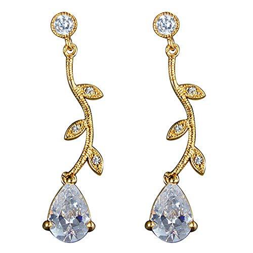 Onefeart Gold Plated Stud Earrings for Women Oval Cubic Zirconia Branch Leaves Shape Drop Earrings 4.7CM Gold