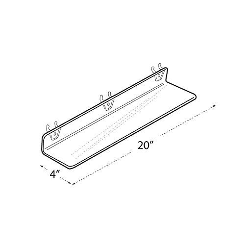 Count of 4 Clear Acrylic Shelf for PEGBOARD and SLATWALL 20''w x 4''d x 2''high