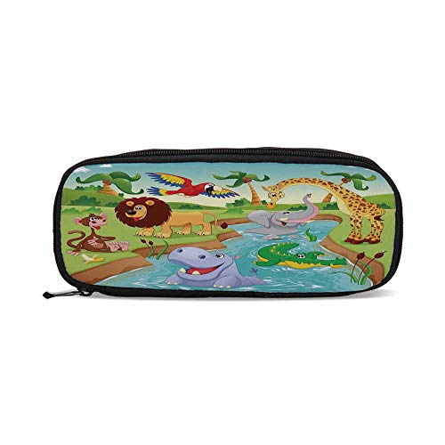 Kids Decor,Cartoon Safari African Animals Swimming in The Lake Elephant Lions and Giraffe Art,9.4