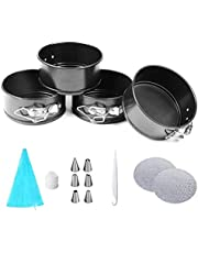 Mini Springform Round Cake Pans, 4 Inch Cake Pan Pastry bags Cake Board Mini Cheesecakes, Pizzas and Quiches, Set of 15