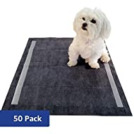 Amazon Brand - Solimo Super Absorbent Puppy Pads, Odor Control Activated Carbon, Regular, 50 Count