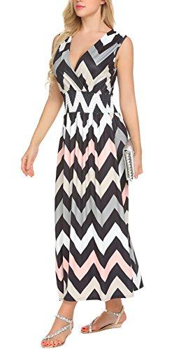 SimpleFun Women's Summer Chevron Striped Dress Tank Long Maxi Dresse (L, (Strip Tank)