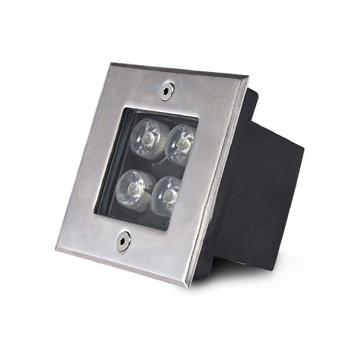 LUMINTURS 4W LED Outdoor Buried Spot Light Square Fixture Underground Lamp Pure White