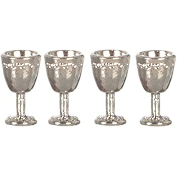 """Dollhouse Miniature Set of 4 /""""Antique Look/"""" Silver Goblets by Miniatures World"""