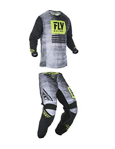 Kinetic Youth Pants - Fly Racing Youth Kinetic Noiz Motocross Pants/Jersey Set Black/Hi-Vis (26W Pants/Youth Large Jersey)