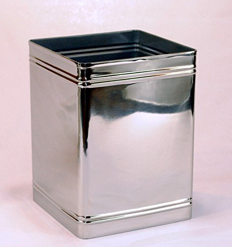 3SCompany Square Ribs Shiny Waste Basket with Liner