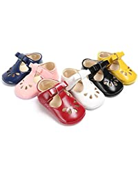 Baby Girls Mary Janes Flat Toddler Prewalker Soft Sole Anti-Slip Princess Baptism Crib Shoes