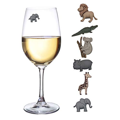 Elephant Glass Charm (Animal Wine Charms Set of 6 Safari Themed Magnetic Wine Glass Drink Markers)