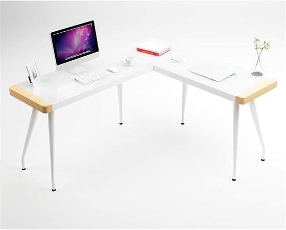 TYI Mesa de Esquina Escritorio de computadora en Forma de L, Material de Madera y Vidrio Templado, estación de Trabajo de Aprendizaje portátil, para Mesa de Oficina en el hogar: Amazon.es: Hogar