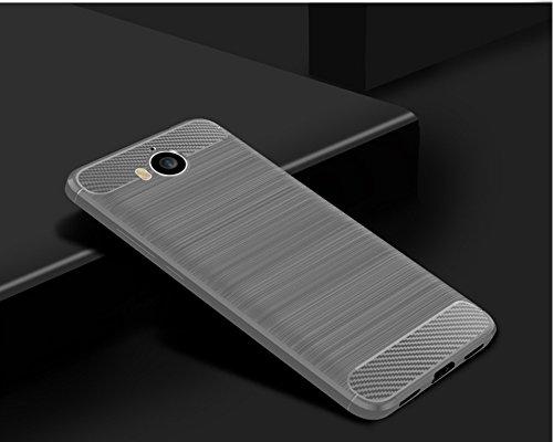 Funda Huawei Y5 2017,Funda Fibra de carbono Alta Calidad Anti-Rasguño y Resistente Huellas Dactilares Totalmente Protectora Caso de Cuero Cover Case Adecuado para el Huawei Y5 2017 B