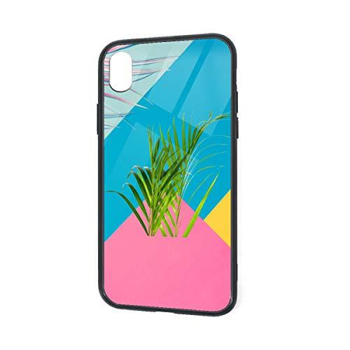 (Malibu Coconut Tree iPhone XR TPU Glass Phone Case Shock-Absorption Bumper Cover 6.1 Inch)