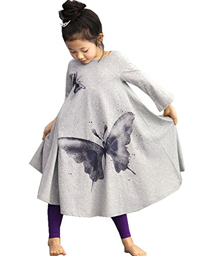 Zeagoo Children Clothing Girls Beach Dress Cotton Butterfly Print Long Design T-shirt Full-flared Skirt 2-10Y ,Gray ,120(Age for 6-7Y)