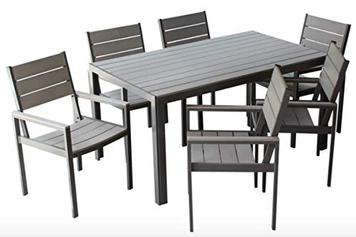 MARKT Supply Co Hand-Made, All Weather Outdoor Furniture, Premium 7-Piece Patio Dining Set | Palisades Collection | Gray w/Gray Wood