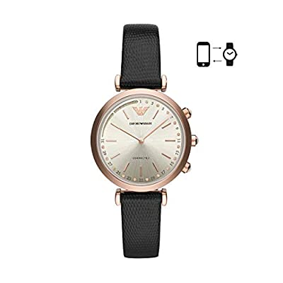 Emporio Armani Women's 'Hybrid Smartwatch' Quartz Stainless Steel and Leather Smart Watch, Color:Black (Model: ART3027) by Emporio Armani Connected Watches Child Code